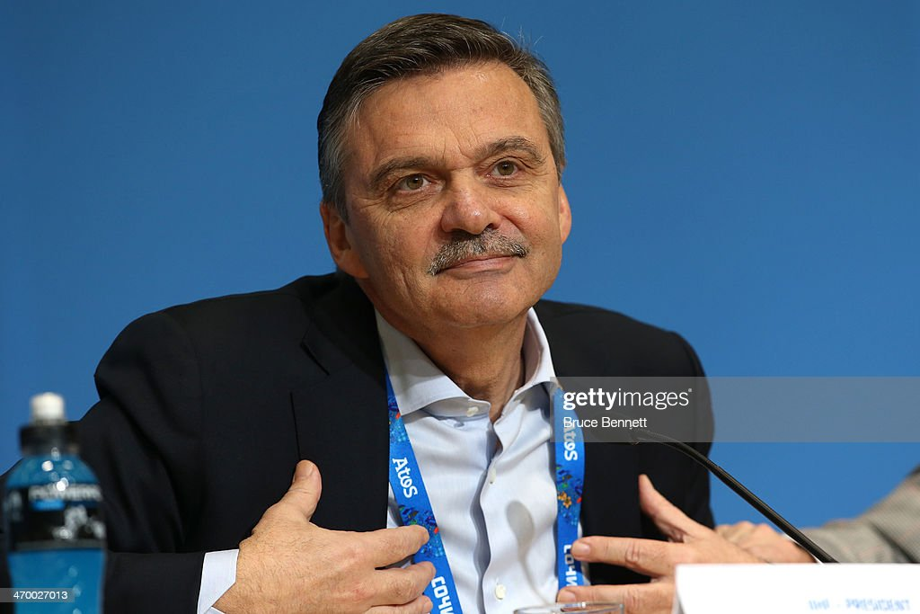 International Ice Hockey Federation President Rene Fasel speaks during a press conference on day eleven of the Sochi 2014 Winter Olympics on February 18, 2014 in Sochi, Russia.