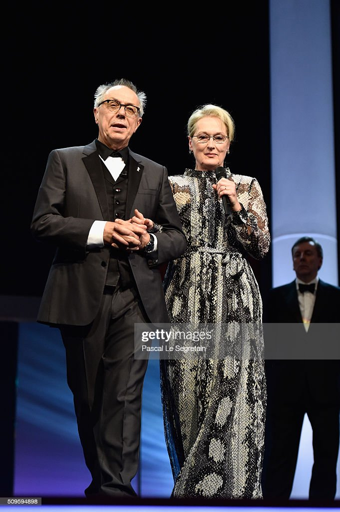 International jury president <a gi-track='captionPersonalityLinkClicked' href=/galleries/search?phrase=Meryl+Streep&family=editorial&specificpeople=171097 ng-click='$event.stopPropagation()'>Meryl Streep</a> (R) and festival president <a gi-track='captionPersonalityLinkClicked' href=/galleries/search?phrase=Dieter+Kosslick&family=editorial&specificpeople=213030 ng-click='$event.stopPropagation()'>Dieter Kosslick</a> appear on stage during the opening ceremony of the 66th Berlinale International Film Festival Berlin at Berlinale Palace on February 11, 2016 in Berlin, Germany.