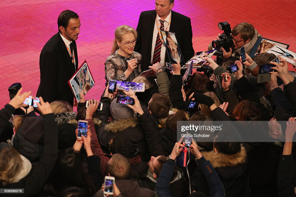 International jury president <a gi-track='captionPersonalityLinkClicked' href=/galleries/search?phrase=Meryl+Streep&family=editorial&specificpeople=171097 ng-click='$event.stopPropagation()'>Meryl Streep</a> attends the 'Hail, Caesar!' premiere during the 66th Berlinale International Film Festival Berlin at Berlinale Palace on February 11, 2016 in Berlin, Germany.