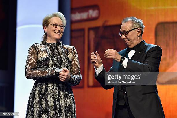 International jury president Meryl Streepand festival president Dieter Kosslick appear on stage during the opening ceremony of the 66th Berlinale...