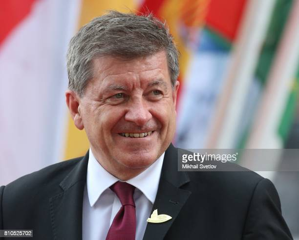 International Labour Organisation Director Guy Ryder arrive to the Elbphilharmone for the dinner during the G20 Summit in Hamburg Germany July2017