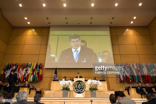 International Labour Organization DirectorGeneral Guy Ryder delivers a speech to the delegates of the 106th ILO annual conference on June 5 2017 at...
