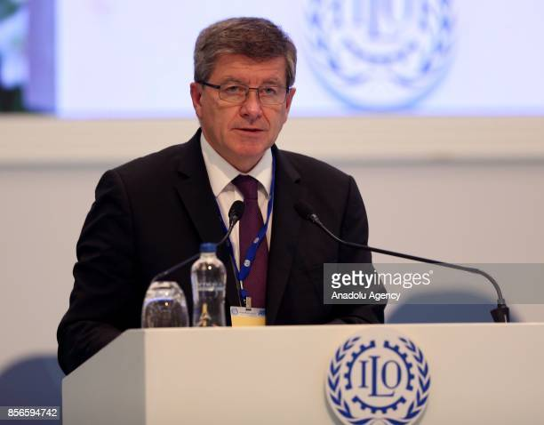 International Labour Organization General Director Guy Ryder delivers a speech during the 10th European Regional meeting of International Labour...