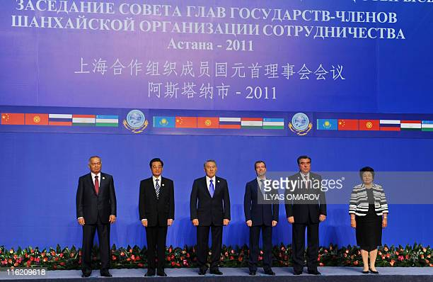 International leaders participants of a summit of the Shanghai Cooperation Organization pose for a photo in Astana on June 15 from right Kyrgyz...