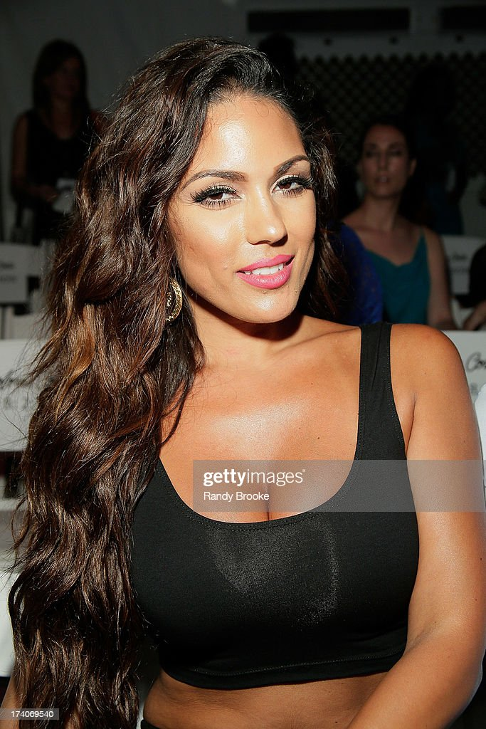 International Maxim Model Carissa Rosario at Mercedes-Benz Fashion Week Swim 2014 at Raleigh Hotel on July 19, 2013 in Miami Beach, Florida.