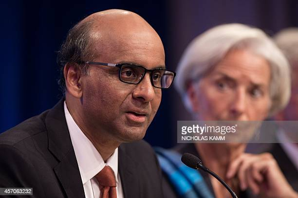 International Monetary and Financial Committee chair Tharman Shanmugaratnam Singapore's finance minister speaks at a press conference with...