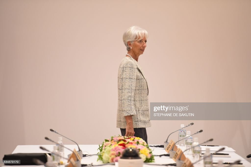 International Monetary Fund (IMF) boss Christine Lagarde takes part in a dialogue with world leaders at the G7 Summit in Shima in Mie prefecture on May 27, 2016. A British secession from the European Union in next month's referendum could have disastrous economic consequences, G7 leaders warned on May 27 at the close of the summit in Japan. / AFP / STEPHANE