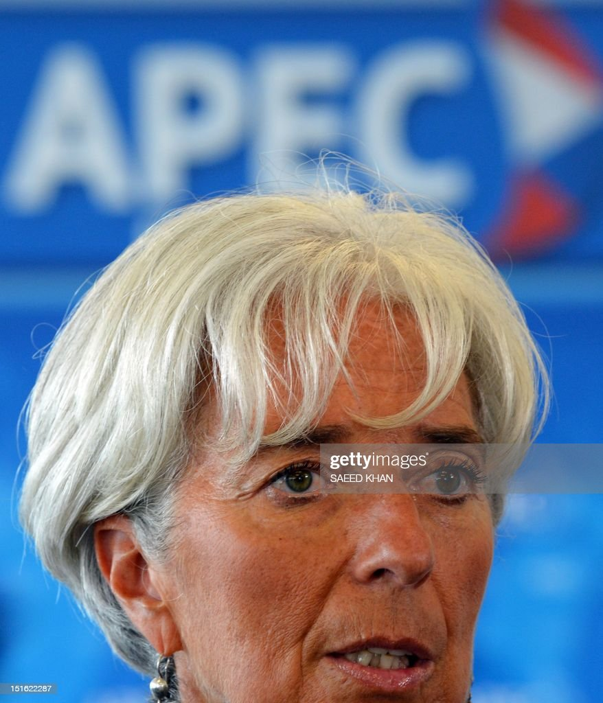 International Monetary Fund (IMF) chief Christine Lagarde addresses a press conference after the Asia-Pacific Economic Cooperation (APEC) summit in Russia's far eastern port city of Vladivostok on September 9, 2012. AFP PHOTO / Saeed Khan