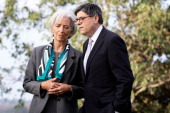 International Monetary Fund chief Christine Lagarde and US Treasury Secretary Jacob Lew chat before the G20 Finance Ministers and Central Bank...