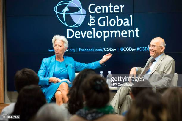 International Monetary Fund Christine Lagarde participates in a discussion about Global Economic Challenges with Masood Ahmed President of the Center...