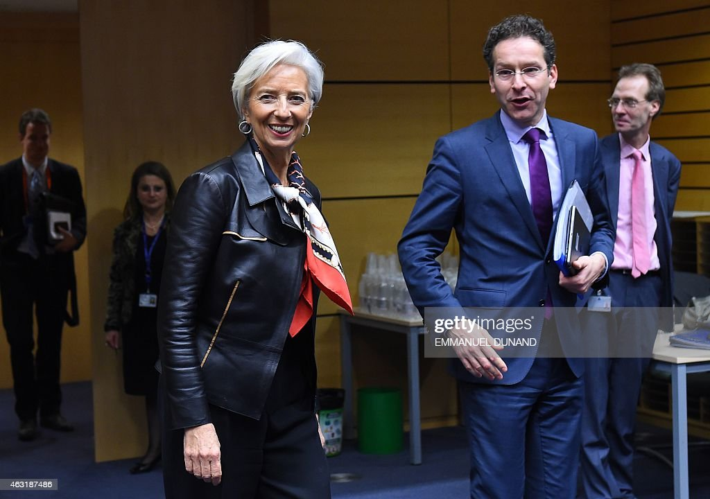 International Monetary Fund (IMF) Director <a gi-track='captionPersonalityLinkClicked' href=/galleries/search?phrase=Christine+Lagarde&family=editorial&specificpeople=566337 ng-click='$event.stopPropagation()'>Christine Lagarde</a> (L) and Eurogroup President and Dutch Finance Minister <a gi-track='captionPersonalityLinkClicked' href=/galleries/search?phrase=Jeroen+Dijsselbloem&family=editorial&specificpeople=9751962 ng-click='$event.stopPropagation()'>Jeroen Dijsselbloem</a> arrive for an emergency Eurogroup finance ministers meeting at the European Council in Brussels on February 11, 2015. Proposals by the new government in Athens to renegotiate the terms of its massive international bailout are scheduled to be discussed by eurozone finance ministers in Brussels on February 11 and 12. AFP PHOTO / EMMANUEL DUNAND