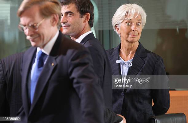 International Monetary Fund Director Christine Lagarde and World Bank President Robert Zoellick arrive for talks among world finance leaders at the...
