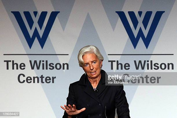 International Monetary Fund Director Christine Lagarde speaks at the Woodrow Wilson Center in her first public address since her appointment...