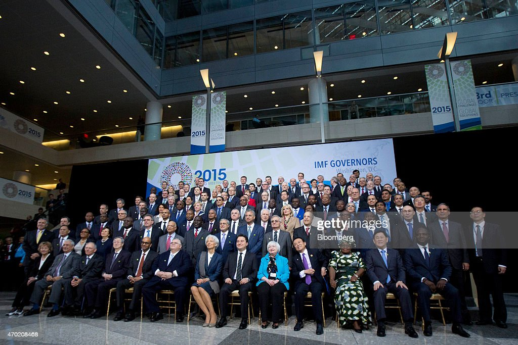 International Monetary Fund (IMF) governors and delegates have their group photo taken during the International Monetary Fund (IMF) and World Bank Group Spring Meetings in Washington, D.C., U.S., on Saturday, April 18, 2015. IMF Managing Director <a gi-track='captionPersonalityLinkClicked' href=/galleries/search?phrase=Christine+Lagarde&family=editorial&specificpeople=566337 ng-click='$event.stopPropagation()'>Christine Lagarde</a> warned this week that she wouldn't let Greece skip a debt payment to the lender, shutting down a potential avenue to buy the Greek government some financial leeway. Front row left to right; Eveline Widmer-Schlumpf, Switzerland's finance minister, Ibrahim Al-Assaf, Saudi Arabia's finance minister, Wolfgang Schaeuble, Germany's finance minister, <a gi-track='captionPersonalityLinkClicked' href=/galleries/search?phrase=Zhou+Xiaochuan&family=editorial&specificpeople=781144 ng-click='$event.stopPropagation()'>Zhou Xiaochuan</a>, governor of the People's Bank of China, Tharman Shanmugaratnam, Singapore's deputy prime minister and finance minister, <a gi-track='captionPersonalityLinkClicked' href=/galleries/search?phrase=Agustin+Carstens&family=editorial&specificpeople=2543899 ng-click='$event.stopPropagation()'>Agustin Carstens</a>, governor of the Bank of Mexico, <a gi-track='captionPersonalityLinkClicked' href=/galleries/search?phrase=Christine+Lagarde&family=editorial&specificpeople=566337 ng-click='$event.stopPropagation()'>Christine Lagarde</a>, managing director of the International Monetary Fund (IMF), <a gi-track='captionPersonalityLinkClicked' href=/galleries/search?phrase=Ali+Babacan&family=editorial&specificpeople=612964 ng-click='$event.stopPropagation()'>Ali Babacan</a>, Turkey's deputy prime minister, <a gi-track='captionPersonalityLinkClicked' href=/galleries/search?phrase=Janet+Yellen&family=editorial&specificpeople=2731344 ng-click='$event.stopPropagation()'>Janet Yellen</a>, chair of the U.S. Federal Reserve, Taro Aso, Japan's deputy prime minister and minister for finance and financial services, Ngozi Okonjo-Iweala, Nigeria' s finance minister, and Choi Kyung Hwan, South Korea's deputy prime minister and finance minister. Photographer: Andrew Harrer/Bloomberg via Getty Images