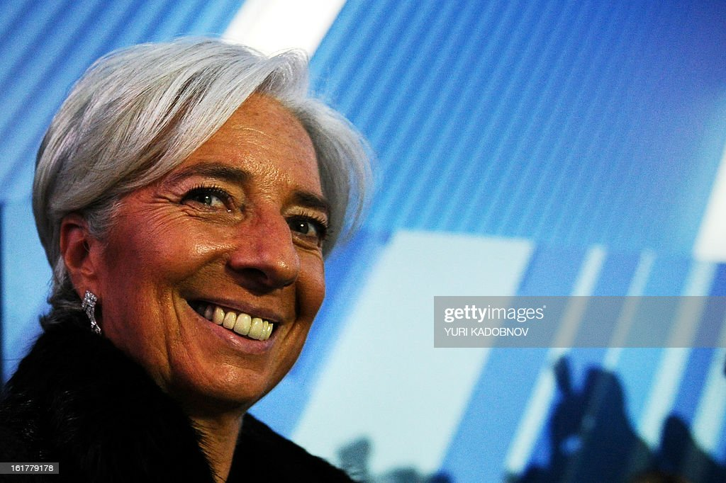 International Monetary Fund (IMF) Managing Director Christine Lagarde attends a meeting of G20 states finance ministers and central bank governors' deputies attend their meeting in Moscow, on February 16, 2013. The ministers and central bank governors' deputies gathered today in Moscow for their first meeting in the Russian capital aimed at reassuring markets that the world's economic powers would not slug it out in 'currency wars' to boost national growth. AFP HOTO/YURI KADOBNOV