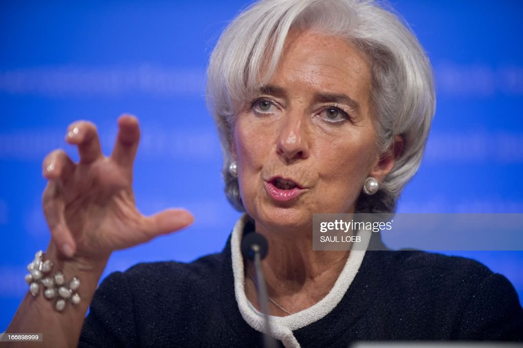 International Monetary Fund Managing Director Christine Lagarde speaks during a press briefing at the IMF Headquarters in Washington DC on April 18...