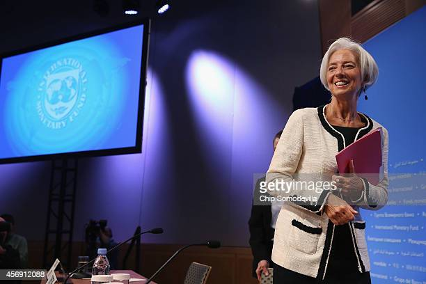 International Monetary Fund Managing Director Christine Lagarde leaves after a news conference during the International Monetary FundWorld Bank Group...