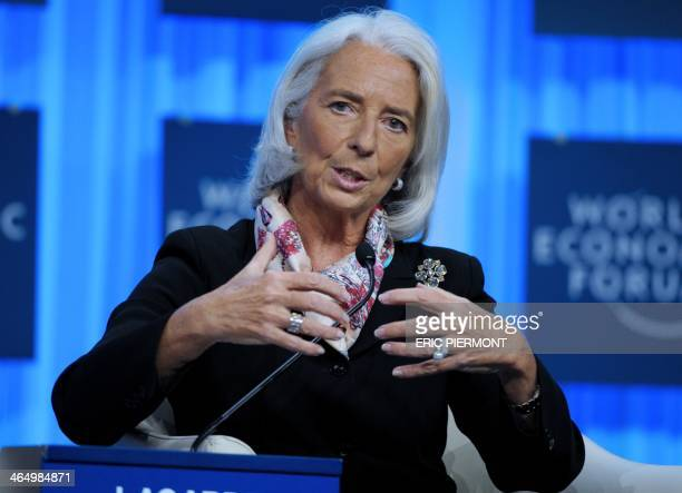 International Monetary Fund Managing Director Christine Lagarde speaks during a session at the World Economic Forum in Davos on January 25 2014 Some...