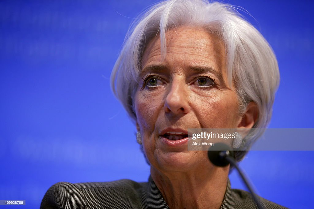 International Monetary Fund (IMF) Managing Director Christine Lagarde speaks during a news conference April 16, 2015 in Washington, DC. The World Bank Group and the IMF are holding their 2015 Spring Meetings.