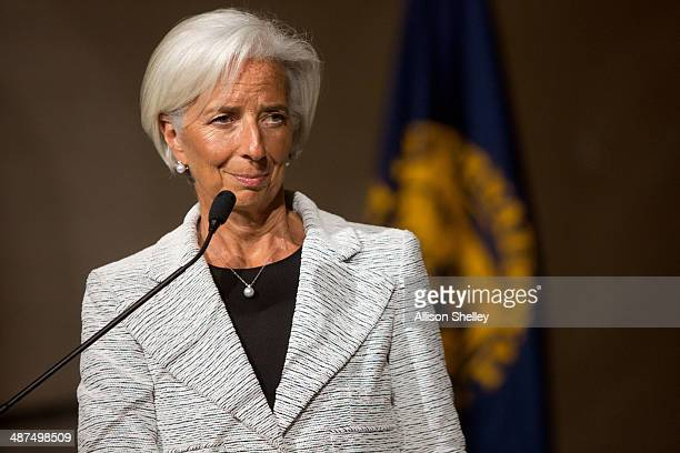 International Monetary Fund Managing Director Christine Lagarde announces a twoyear 'StandBy Arrangement' for Ukraine at IMF headquarters on April 30...