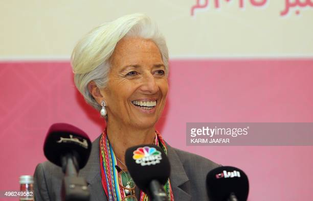 International Monetary Fund Managing Director Christine Lagarde speaks during a press conference after meeting ministers and officials from the Gulf...