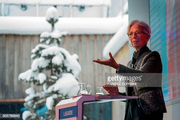International Monetary Fund Managing Director Christine Lagarde gestures during a session entitled 'Global Solutions to Global Migration' at the...