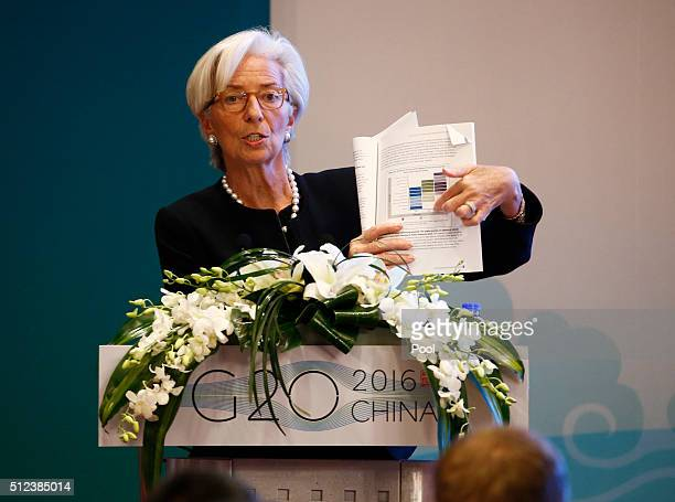 International Monetary Fund Managing Director Christine Lagarde speaks during a session of the G20 Highlevel Seminar on Structural Reform preceeding...