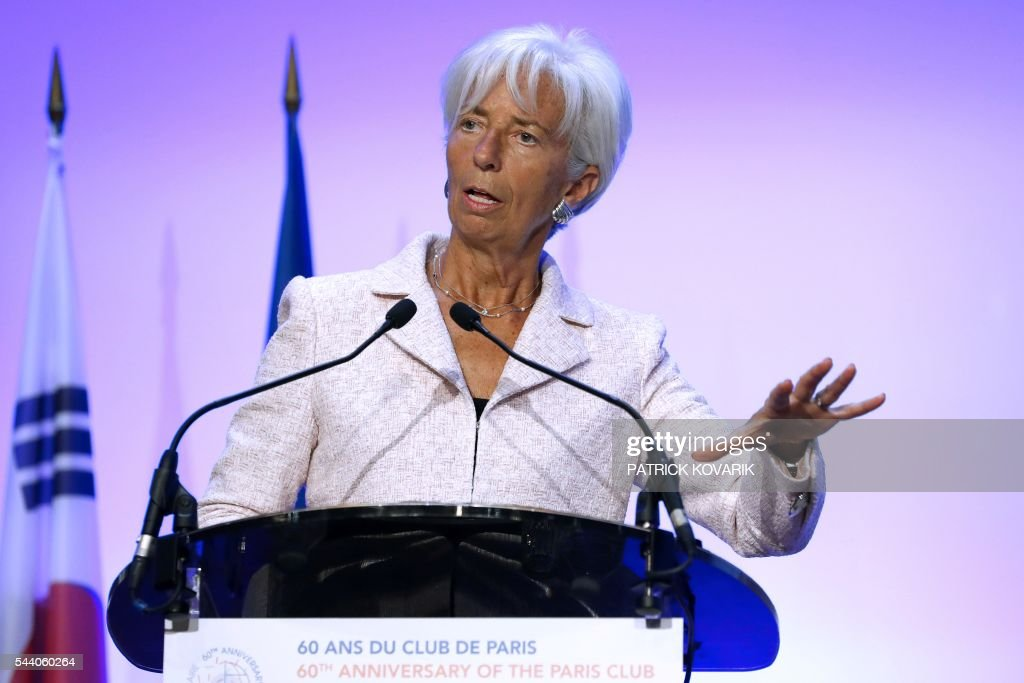 International Monetary Fund (IMF) Managing Director Christine Lagarde delivers a speech during 60th anniversary of the Paris Club, on July 1, 2016 in Paris. KOVARIK