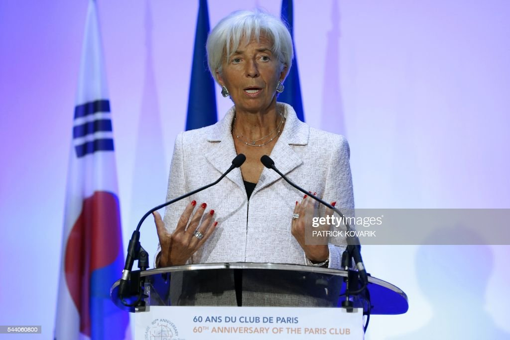 International Monetary Fund (IMF) Managing Director Christine Lagarde delivers a speech during the 60th anniversary of the Paris Club, on July 1, 2016 in Paris. KOVARIK
