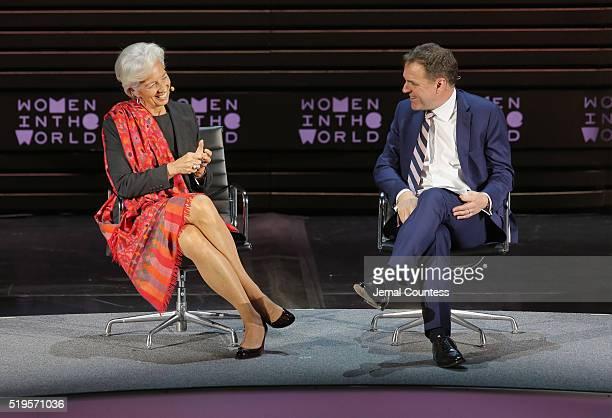 International Monetary Fund Managing Director Christine Lagarde and historian Niall Ferguson speak onstage at Christine Lagarde Madame Chairman...