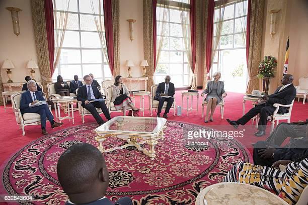 International Monetary Fund Managing Director Christine Lagarde and her IMF team meets with President of Uganda Yoweri Kaguta Museveni at...
