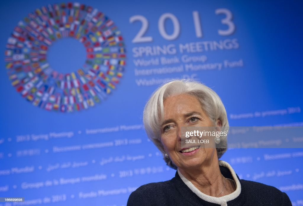 International Monetary Fund (IMF) Managing Director Christine Lagarde arrives for a press briefing at the IMF Headquarters in Washington, DC, on April 18, 2013, during the IMF/World Bank Spring Meetings. AFP PHOTO / Saul LOEB