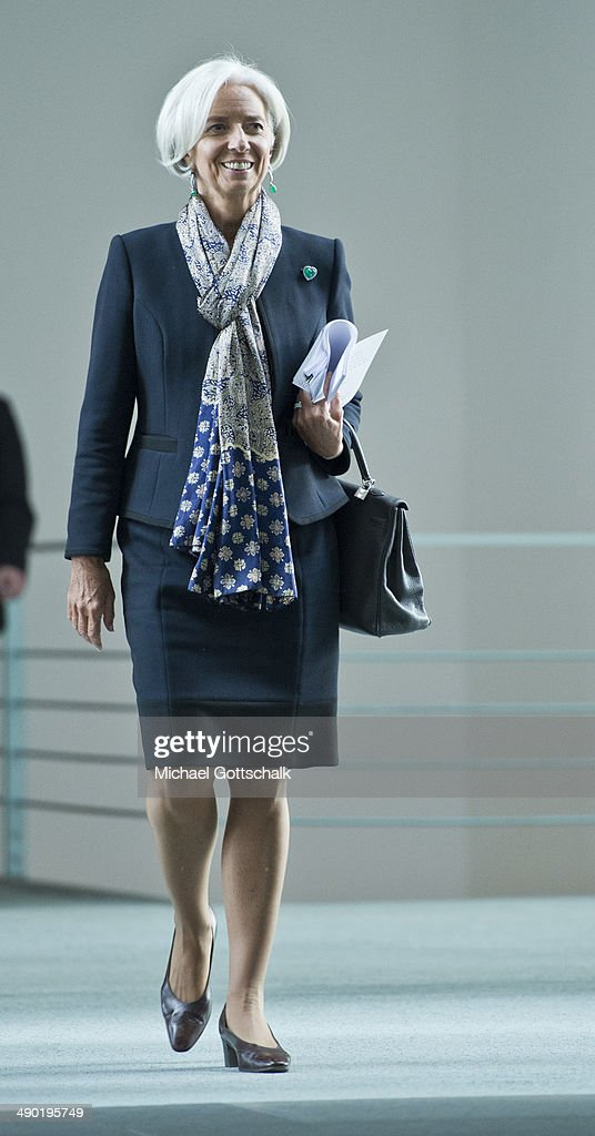 International Monetary Fund managing director Christine Lagarde arrives for a press meeting in the Chancellery on May 13, 2014 in Berlin, Germany.