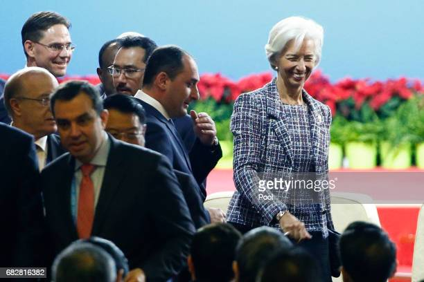 International Monetary Fund Managing Director Christine Lagarde arrives for the opening ceremony of the Belt and Road Forum on May 14 2017 in Beijing...