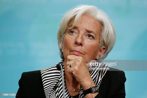 International Monetary Fund Managing Director Christine Lagarde holds a news conference at the IMF headquarters January 17 2013 in Washington DC...