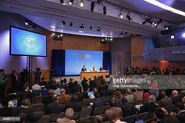 International Monetary Fund Managing Director Christine Lagarde holds a news conference during the International Monetary FundWorld Bank Group annual...