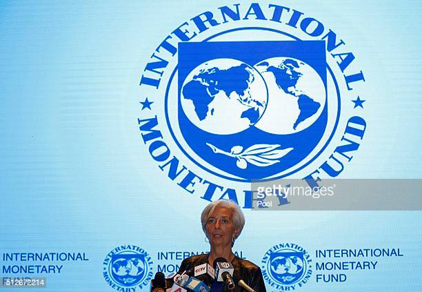 International Monetary Fund Managing Director Christine Lagarde holds a press conference with a moderator and interpreter after sessions of the G20...