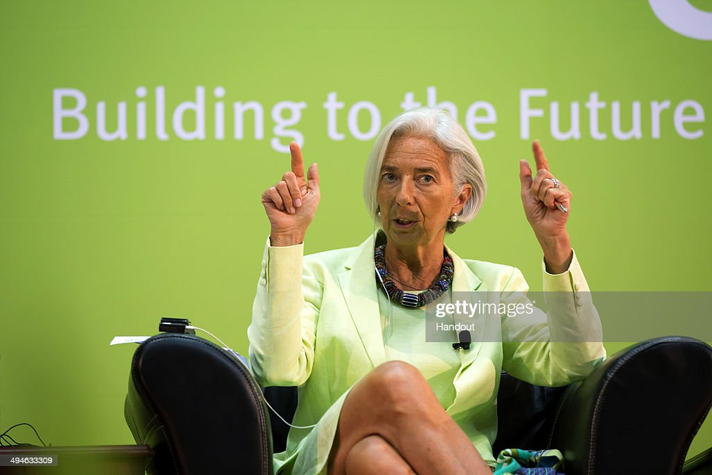 International Monetary Fund Managing Director <a gi-track='captionPersonalityLinkClicked' href=/galleries/search?phrase=Christine+Lagarde&family=editorial&specificpeople=566337 ng-click='$event.stopPropagation()'>Christine Lagarde</a> participates in the concluding roundtable at the Africa Rising Conference May 30, 2014 at the Chiasson Conference Center in Maputo, Mozambique. Lagarde gave the keynote address on Africa's progress, challenges to face and priorities for the future.