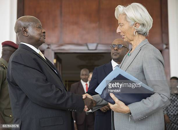 International Monetary Fund Managing Director Christine Lagarde is bid farewell by President of Uganda Yoweri Kaguta Museveni after their meeting at...