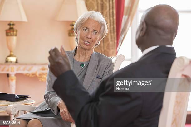 International Monetary Fund Managing Director Christine Lagarde meets President of Uganda Yoweri Kaguta Museveni at Presidential Palace on January 26...