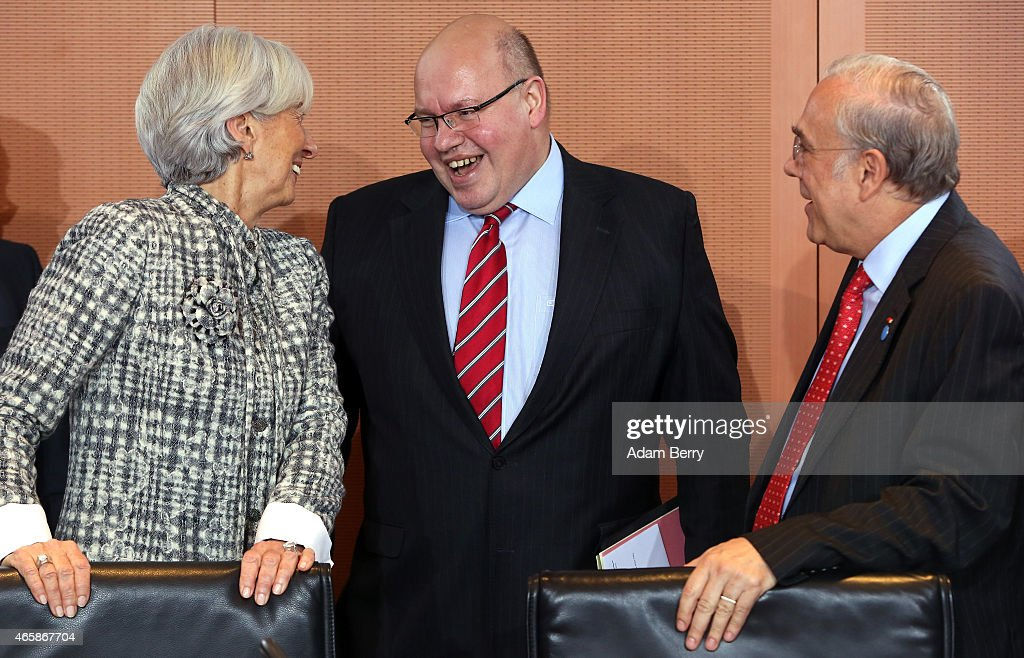 International Monetary Fund Managing Director Christine Lagarde Minister of the Chancellery Peter Altmeier and Organisation for Economic Cooperation...