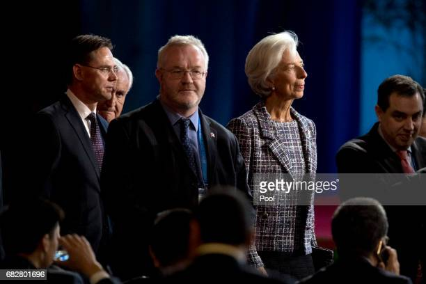 International Monetary Fund Managing Director Christine Lagarde right arrives for the opening ceremony of the Belt and Road Forum at the China...