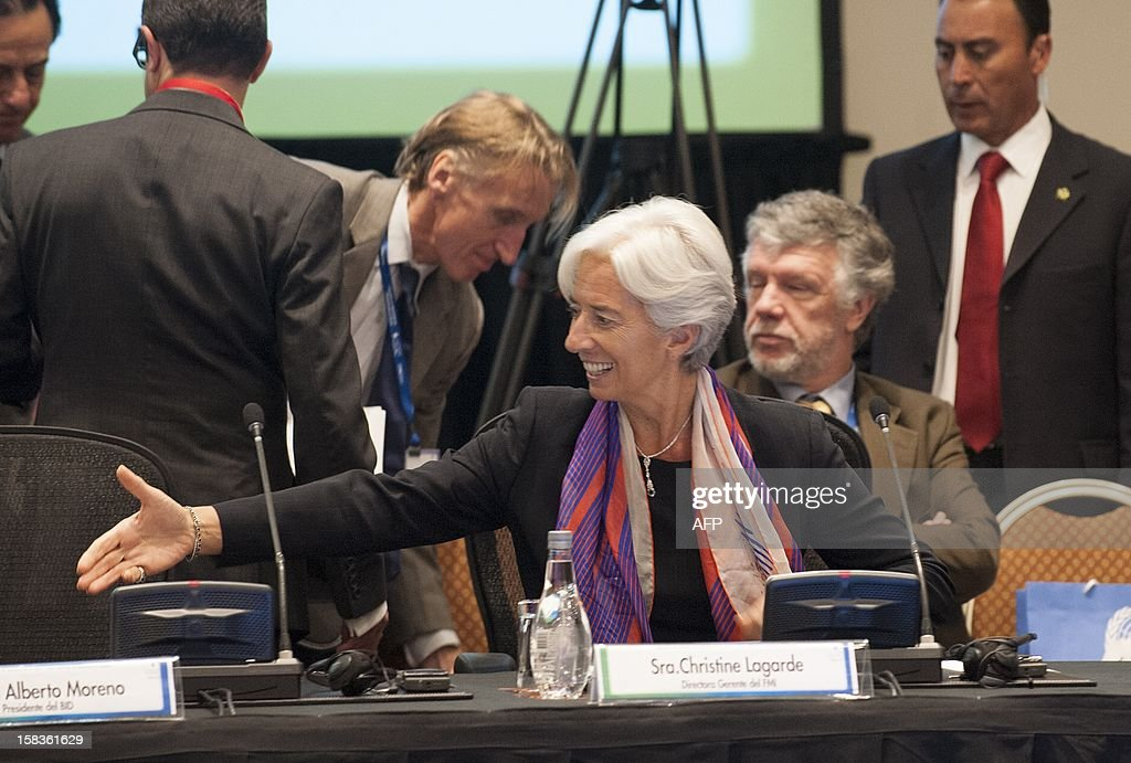 International Monetary Fund (IMF) Managing Director Christine Lagarde attends the opening of the Community of Latin American and Caribbean States (CELAC) summit on December 14, 2012 in Vina del Mar, Chile. AFP PHOTO / Claudio SANTANA