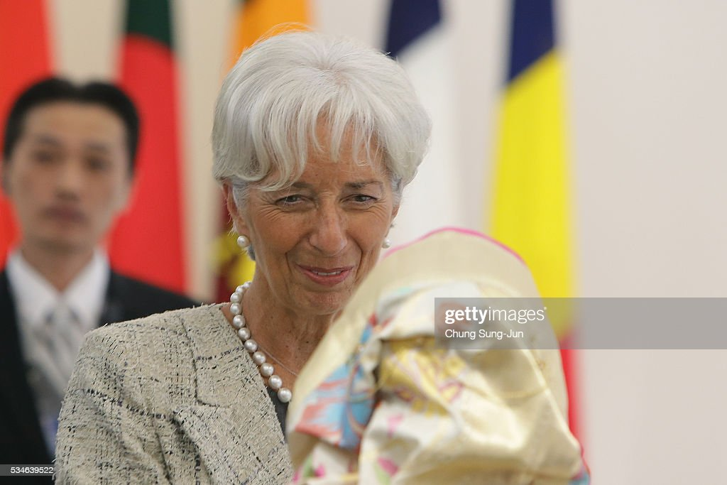 International Monetary Fund Managing Director Christine Lagarde (R) attends the 'Outreach Session' on May 27, 2016 in Kashikojima, Japan. In the two-day summit, the G7 leaders discussed the pressing global issues including counter-terrorism, energy policy, and sustainable development.