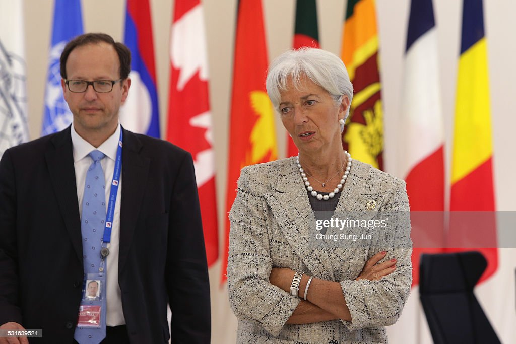International Monetary Fund Managing Director <a gi-track='captionPersonalityLinkClicked' href=/galleries/search?phrase=Christine+Lagarde&family=editorial&specificpeople=566337 ng-click='$event.stopPropagation()'>Christine Lagarde</a> (R) attends the 'Outreach Session' on May 27, 2016 in Kashikojima, Japan. In the two-day summit, the G7 leaders discussed the pressing global issues including counter-terrorism, energy policy, and sustainable development.