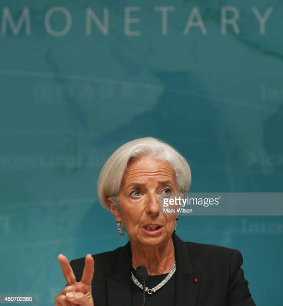 International Monetary Fund Managing Director Christine speaks to the media during a news conference at IMF headquarters June 16 2014 in Washington...
