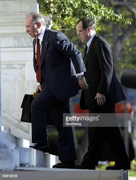 International Monetary Fund Managing Director Rodrigo de Rato left arrives for a meeting of the G7 in Washington DC Saturday April 16 2005