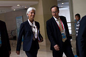 International Monetary Fund managingdirector Christine Lagarde arrives for a bilateral meeting during the G20 finance ministers meeting in Chengdu in...