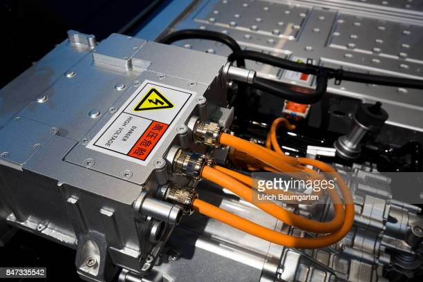 International Motor Show 2017 in Frankfurt Signals from the Far East The photo shows parts of an electric engine and the battery of the Chinese...