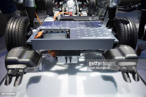International Motor Show 2017 in Frankfurt Symbol photo on the subject electromobility ebattery enviroment etc The photo shows an ebattery of an AUDI...